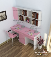 Bàn học nhựa Đài Loan bàn học BH14 màu hồng trắng