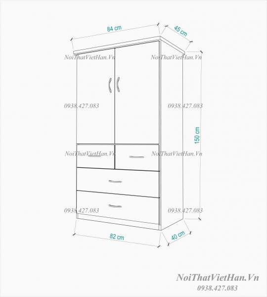 Tủ nhựa Đài Loan 2 cánh 4 ngăn T214 màu xanh trắng