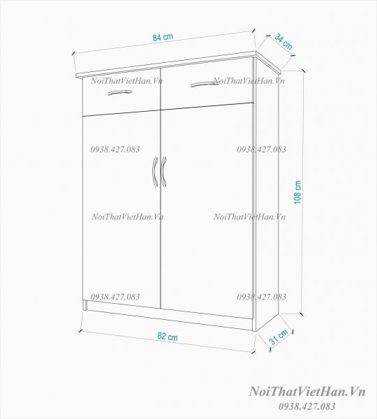 Tủ giầy nhựa 2 cánh 2 ngăn kéo TG11 - màu cafe trắng