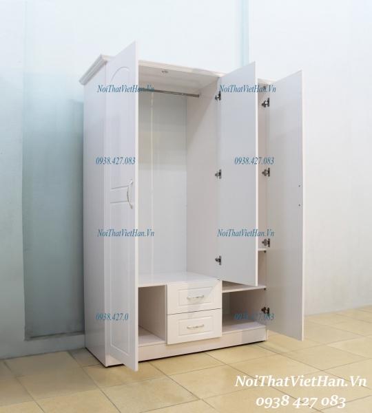 Tu Nhua Canh Dac khung Rong HC301_ 3 canh 2 ngan mau trang