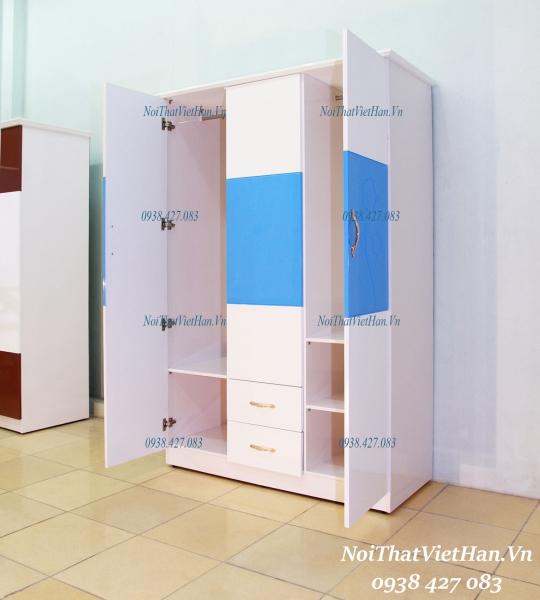 Tu Nhua Canh Dac khung Rong HC303_ 3 canh 2 ngan mau xanh duong trang