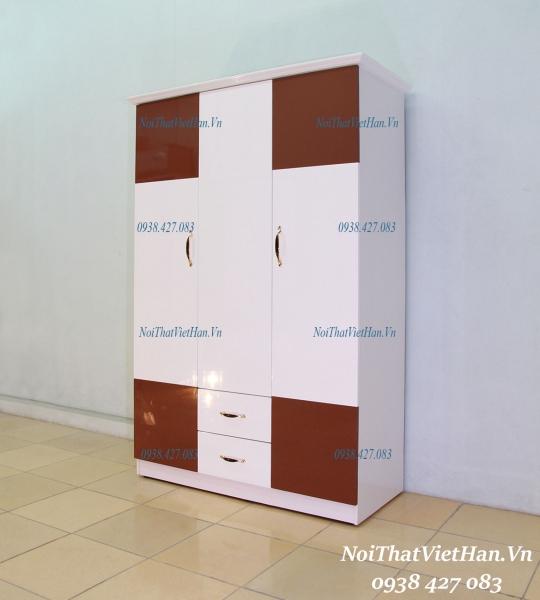 Tu Nhua Canh Dac khung Rong HC304_ 3 canh 2 ngan mau nau trang