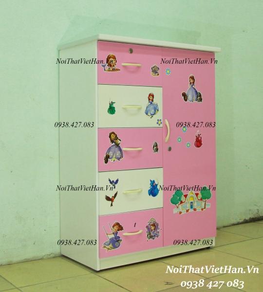 Tủ nhựa Đài Loan 1 cánh 5 ngăn T224 màu hồng