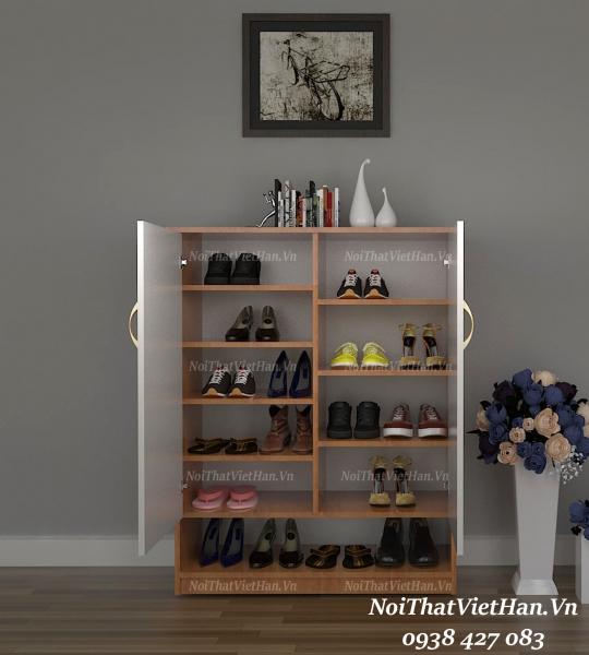 Tủ giầy nhựa 2 cánh 1 ngăn kéo trống TG12 - màu vân gỗ