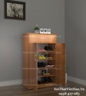 Tủ giầy nhựa 2 cánh 1 ngăn kéo TG13 - màu vân gỗ