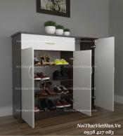 Tủ giầy nhựa 3 cánh 1 ngăn kéo TG04 - màu cafe trắng