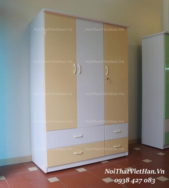 Tủ nhựa Đài Loan 3 cánh 4 ngăn C319 màu vàng trắng