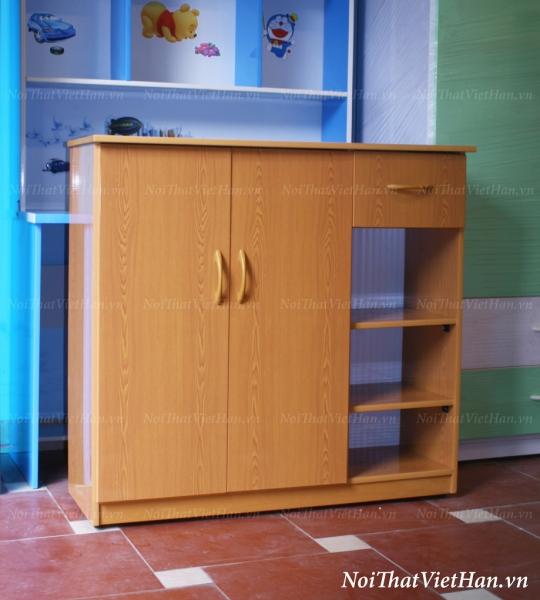 Tủ giầy nhựa Đài Loan TG02 - 2 cánh 4 ngăn màu vân gỗ