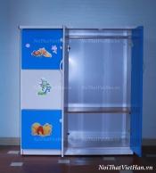 Tủ nhựa Đài Loan 2 cánh 3 cánh nhỏ T316 màu xanh, trắng