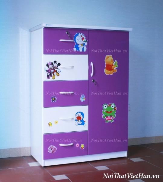 Tủ nhựa Đài Loan 1 cánh 5 ngăn T220 màu tím trắng
