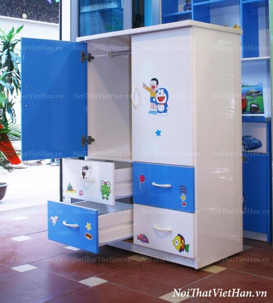 Tủ nhựa Đài Loan 2 cánh 4 ngăn T206 màu xanh trắng