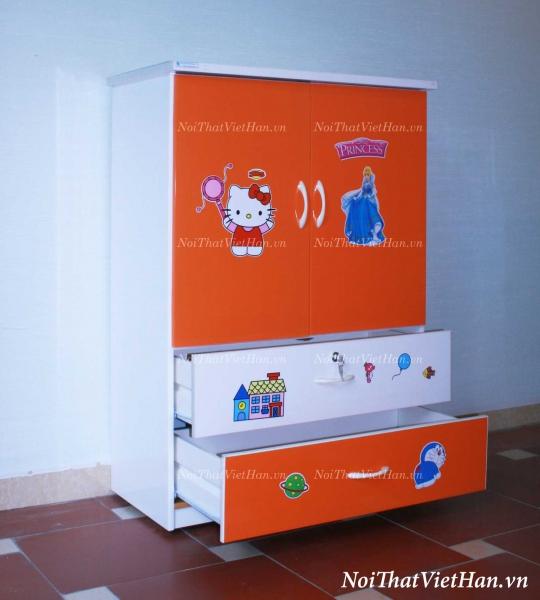 Tủ nhựa Đài Loan 2 cánh 2 ngăn T208 màu cam trắng