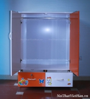 Tủ nhựa Đài Loan 2 cánh 2 ngăn T212 màu cam trắng