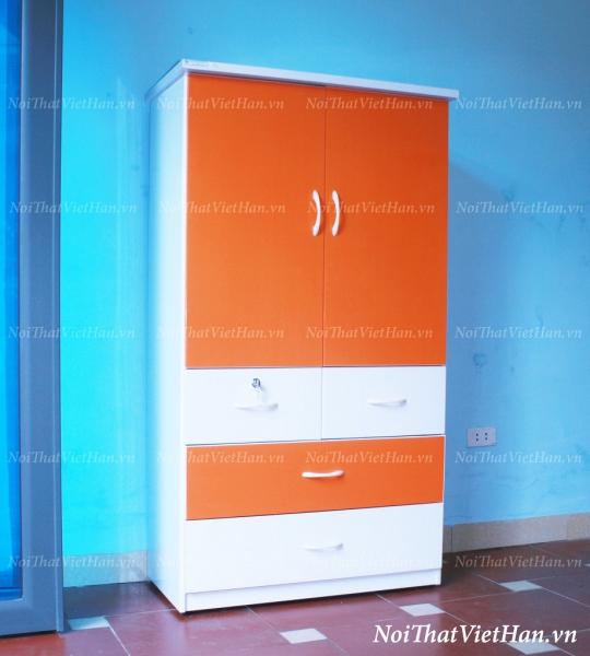 Tủ nhựa Đài Loan 2 cánh 4 ngăn T215 màu cam trắng