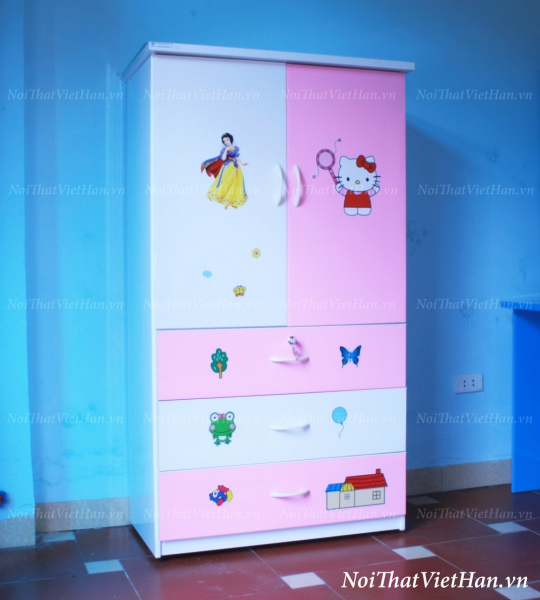 Tủ nhựa Đài Loan 2 cánh 3 ngăn T217 màu hồng trắng