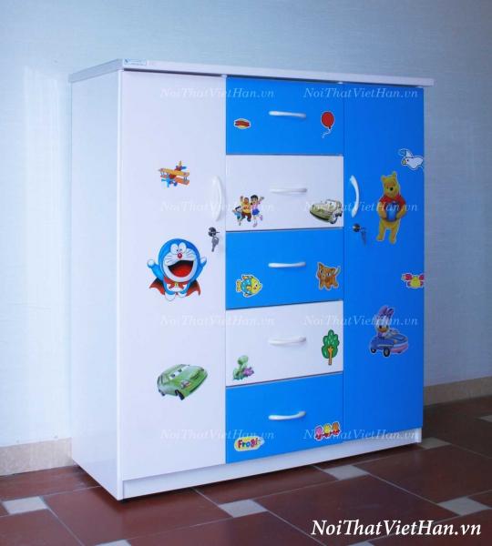 Tủ nhựa Đài Loan 2 cánh 5 ngăn T304 màu xanh trắng