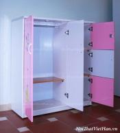 Tủ nhựa Đài Loan 2 cánh 3 ngăn T306 màu hồng trắng