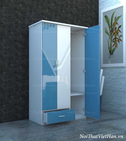 Tủ nhựa Đài Loan 3 cánh 1 ngăn C301 màu xanh trắng