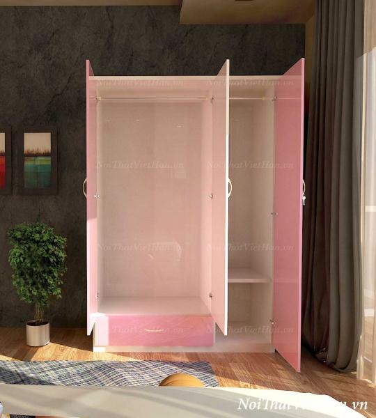 Tủ nhựa Đài Loan 3 cánh 1 ngăn C302 màu hồng trắng