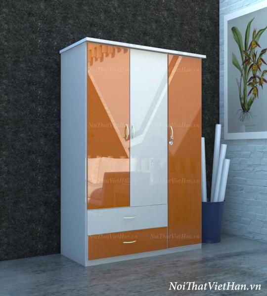 Tủ nhựa Đài Loan 3 cánh 2 ngăn C305 màu cam trắng