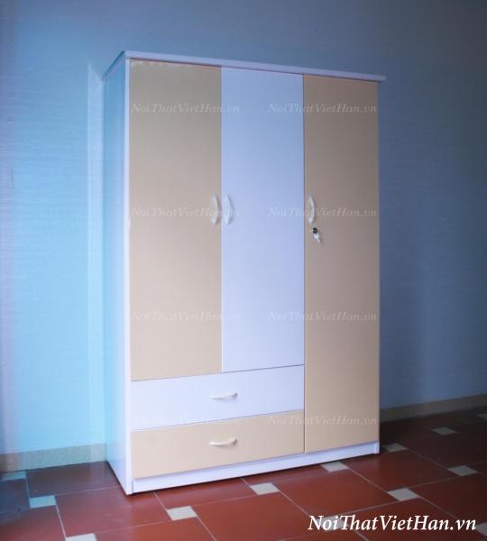 Tủ nhựa Đài Loan 3 cánh 2 ngăn C306 màu vàng trắng