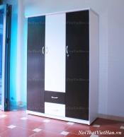 Tủ nhựa Đài Loan 3 cánh 2 ngăn C313 màu đen trắng