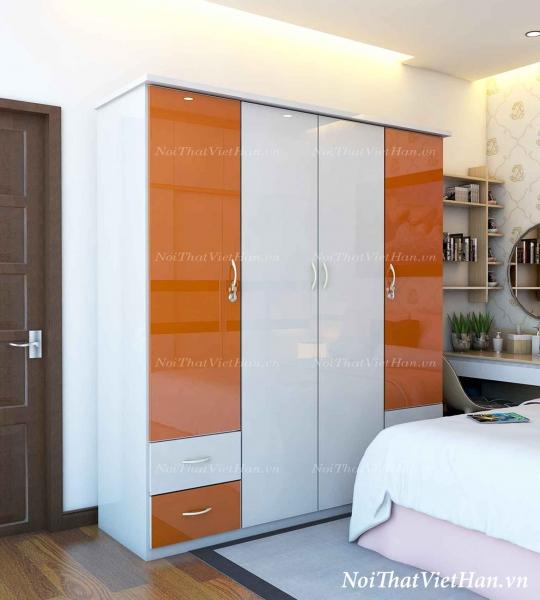 Tủ nhựa Đài Loan 4 cánh 4 ngăn C401 màu cam trắng