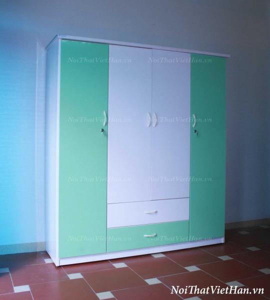 Tủ nhựa Đài Loan 4 cánh 2 ngăn C406 màu xanh cốm, trắng