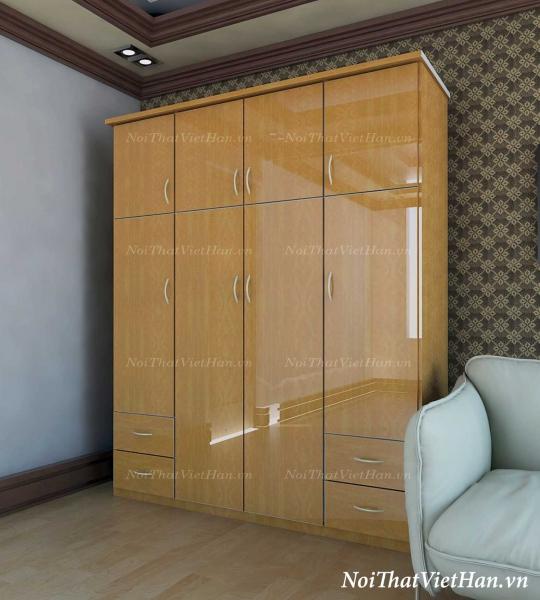 Tủ nhựa Đài Loan 4 cánh 4 ngăn C412 màu vân gỗ