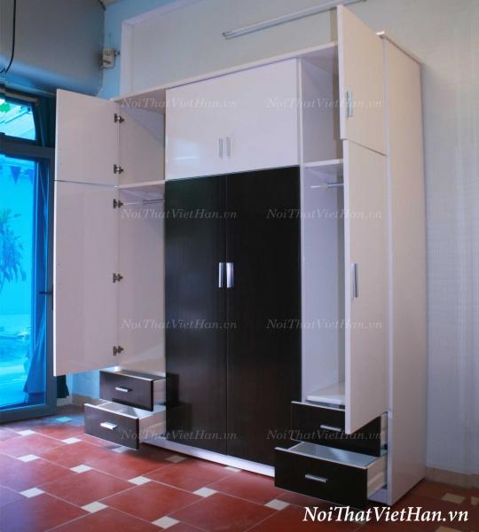 Tủ quần áo 8 cánh 4 ngăn C413 màu đen và trắng