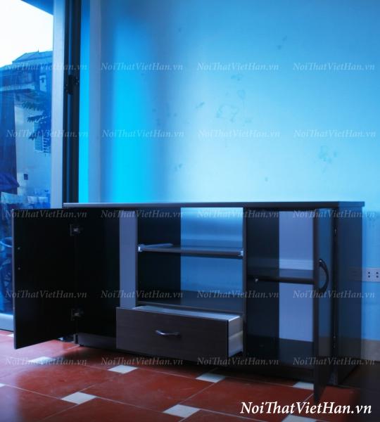 Kệ tivi nhựa Đài Loan 2 cánh 3 ngăn màu đen