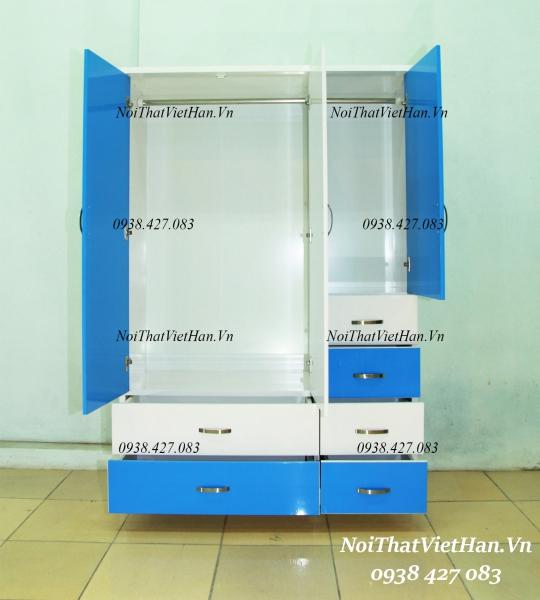 Tủ nhựa Đài Loan 3 cánh 6 ngăn C317 màu xanh trắng