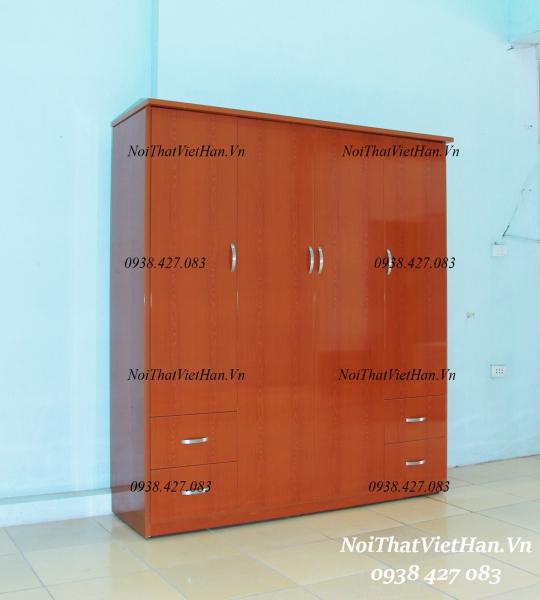 Tủ nhựa Đài Loan 4 cánh 4 ngăn C427 màu vân gỗ đỏ