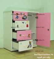 Tủ nhựa Đài Loan 1 cánh 4 ngăn T232 màu hồng