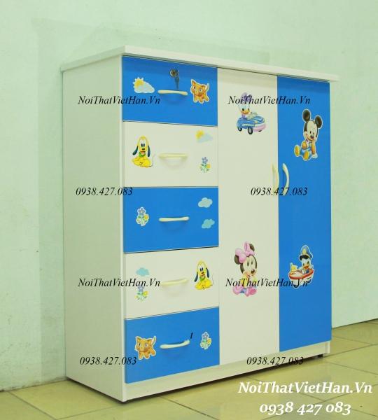 Tủ nhựa Đài Loan 2 cánh 5 ngăn T302 màu xanh trắng
