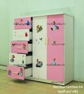 Tủ nhựa Đài Loan 2 cánh 5 ngăn T305 màu hồng