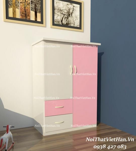 Tủ nhựa Đài Loan 2 cánh 2 ngăn T213 màu hồng trắng
