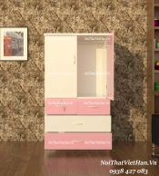Tủ nhựa Đài Loan 2 cánh 4 ngăn T216 màu hồng trắng