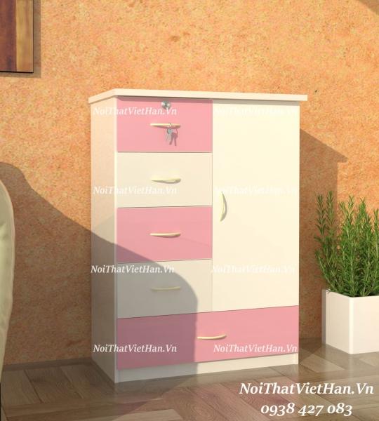 Tủ nhựa Đài Loan 5 ngăn kéo 1 cánh T229 màu hồng