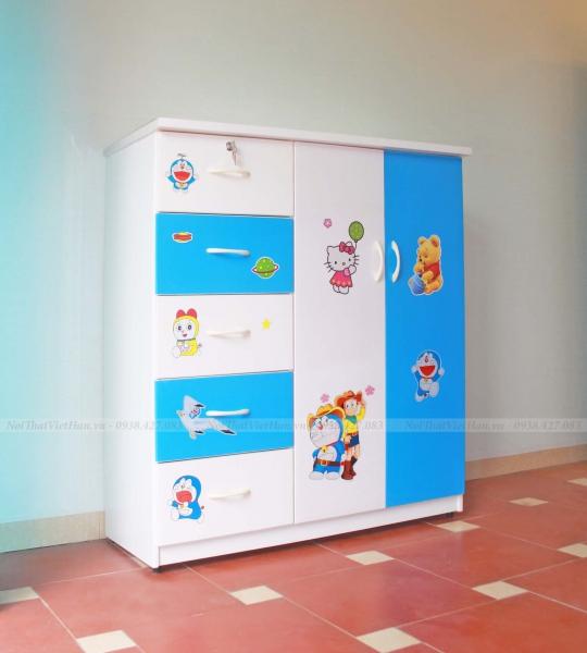 Tủ nhựa Đài Loan C019, 2 buồng 5 ngăn, mã T302 màu xanh trắng
