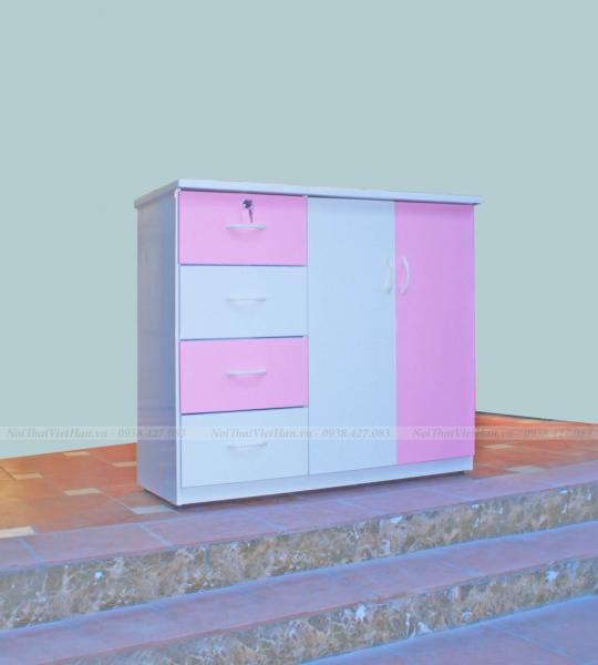 Tủ nhựa Đài Loan 2 cánh 4 ngăn T307 màu hồng trắng