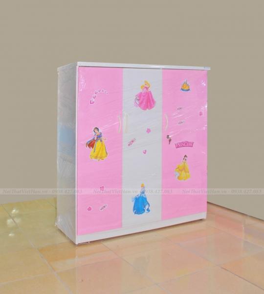 Tủ nhựa Đài Loan Trẻ Em 3 cánh T308 màu hồng trắng