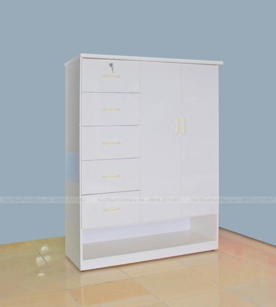 Tủ nhựa Đài Loan 2 cánh 5 ngăn T312 màu trắng