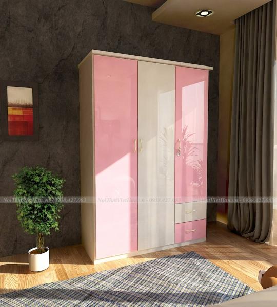 Tủ nhựa Đài Loan 3 cánh 2 ngăn C314 màu hồng trắng