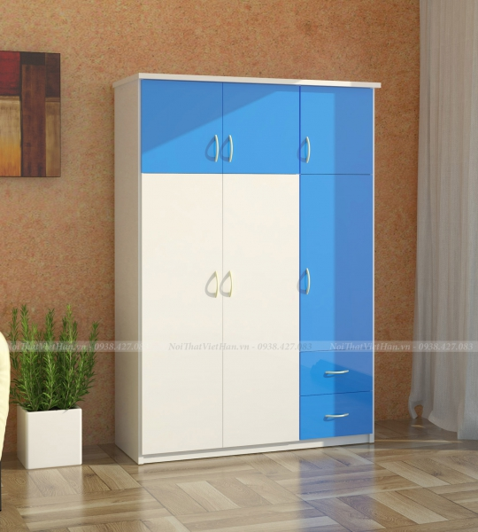 Tủ nhựa Đài Loan 6 cánh 2 ngăn C329 màu xanh trắng