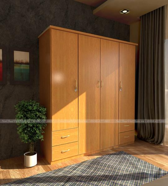 Tủ nhựa Đài Loan 4 cánh 4 ngăn C402 màu vân gỗ vàng