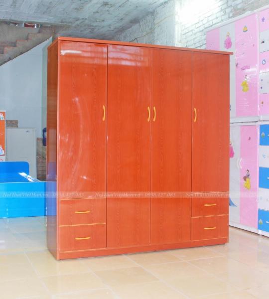 Tủ nhựa Đài Loan 6 cánh 4 ngăn C414 màu giả gỗ