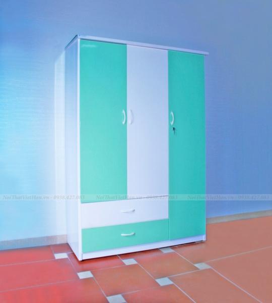 Tủ nhựa Đài Loan 3 cánh 2 ngăn C304 màu cốm trắng
