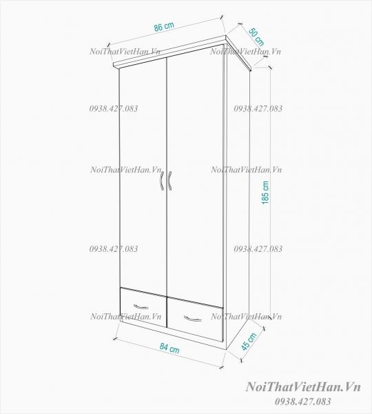 Tủ nhựa Đài Loan 2 cánh 2 ngăn C202 màu xanh trắng