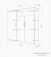 Tủ giầy nhựa 3 cánh ngăn kéo trống TG10 - màu cafe trắng